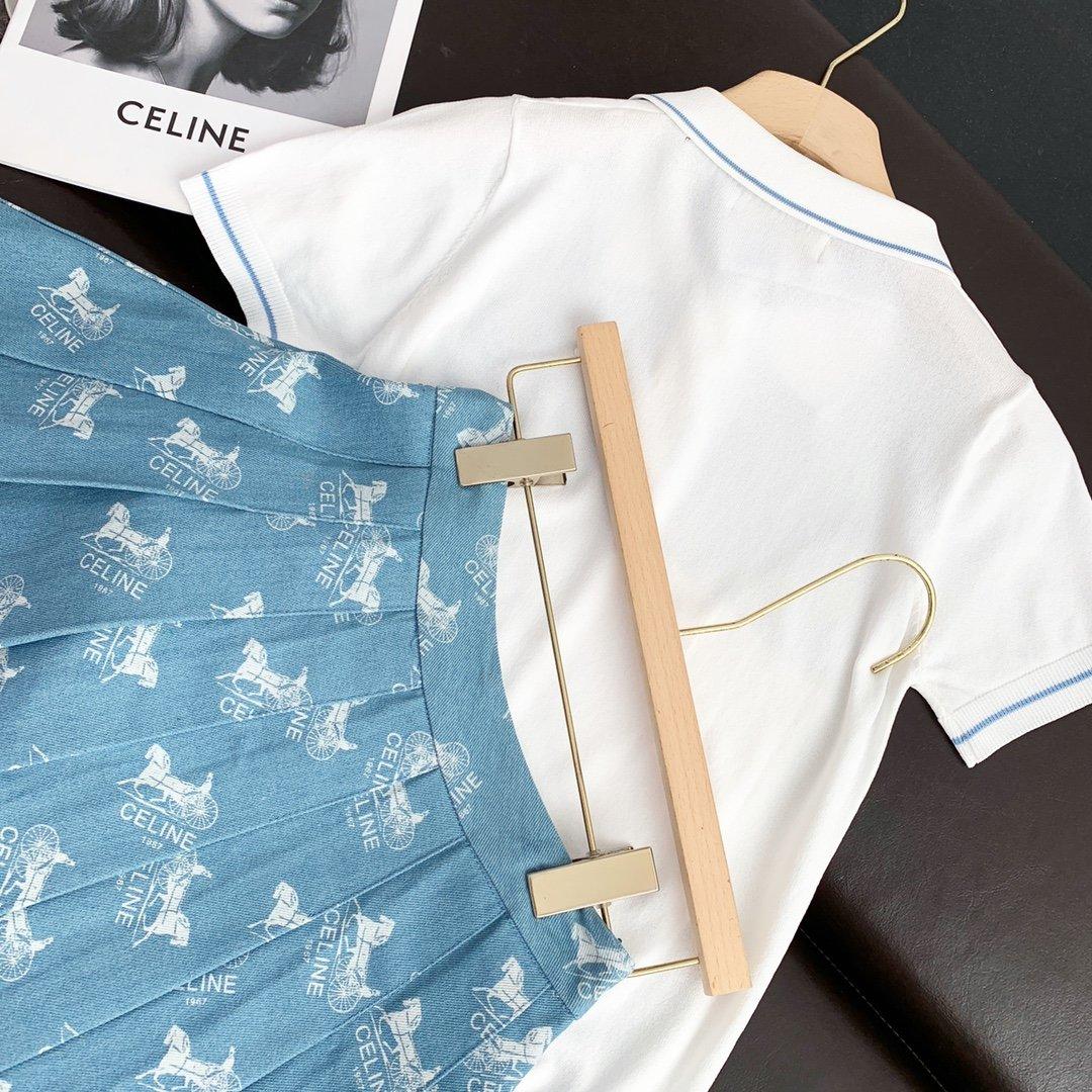 celine针织刺绣小马短袖牛仔裙刺