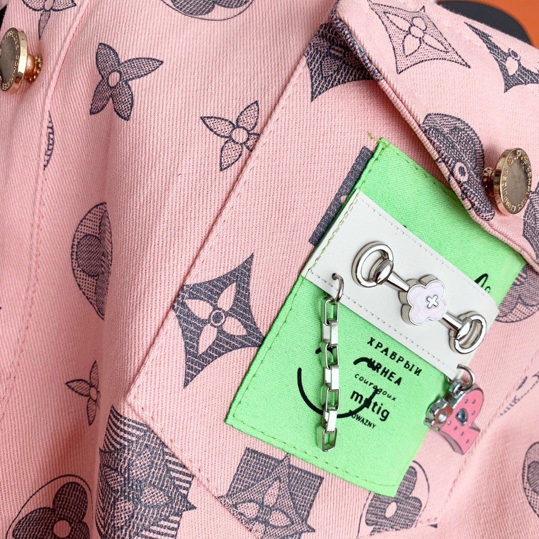 LV花色上衣短裤二件套套装白色粉色M