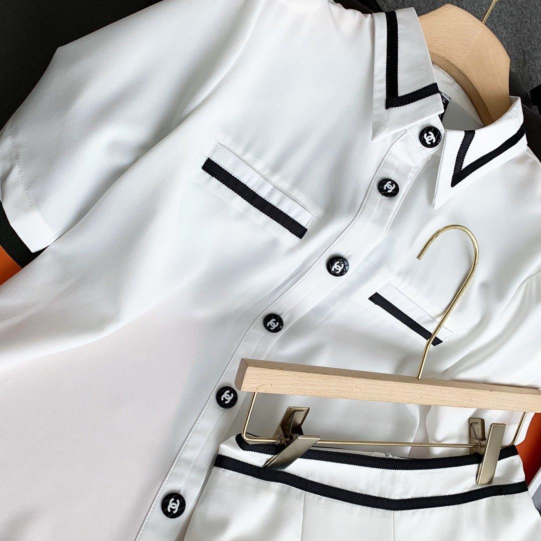Chanel撞色套装白色SML白富美