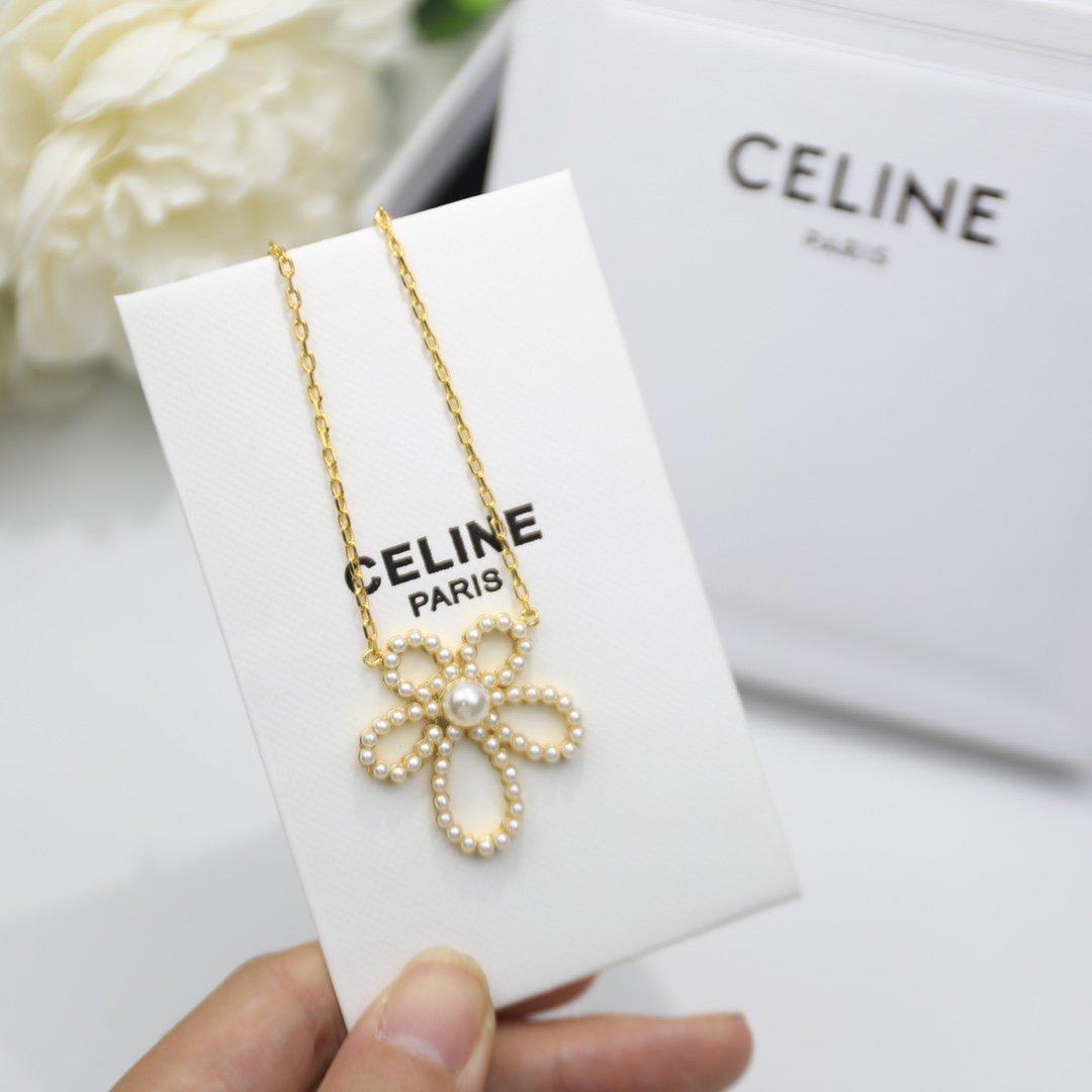 塞林CELINE珍珠花朵项链出货亚金