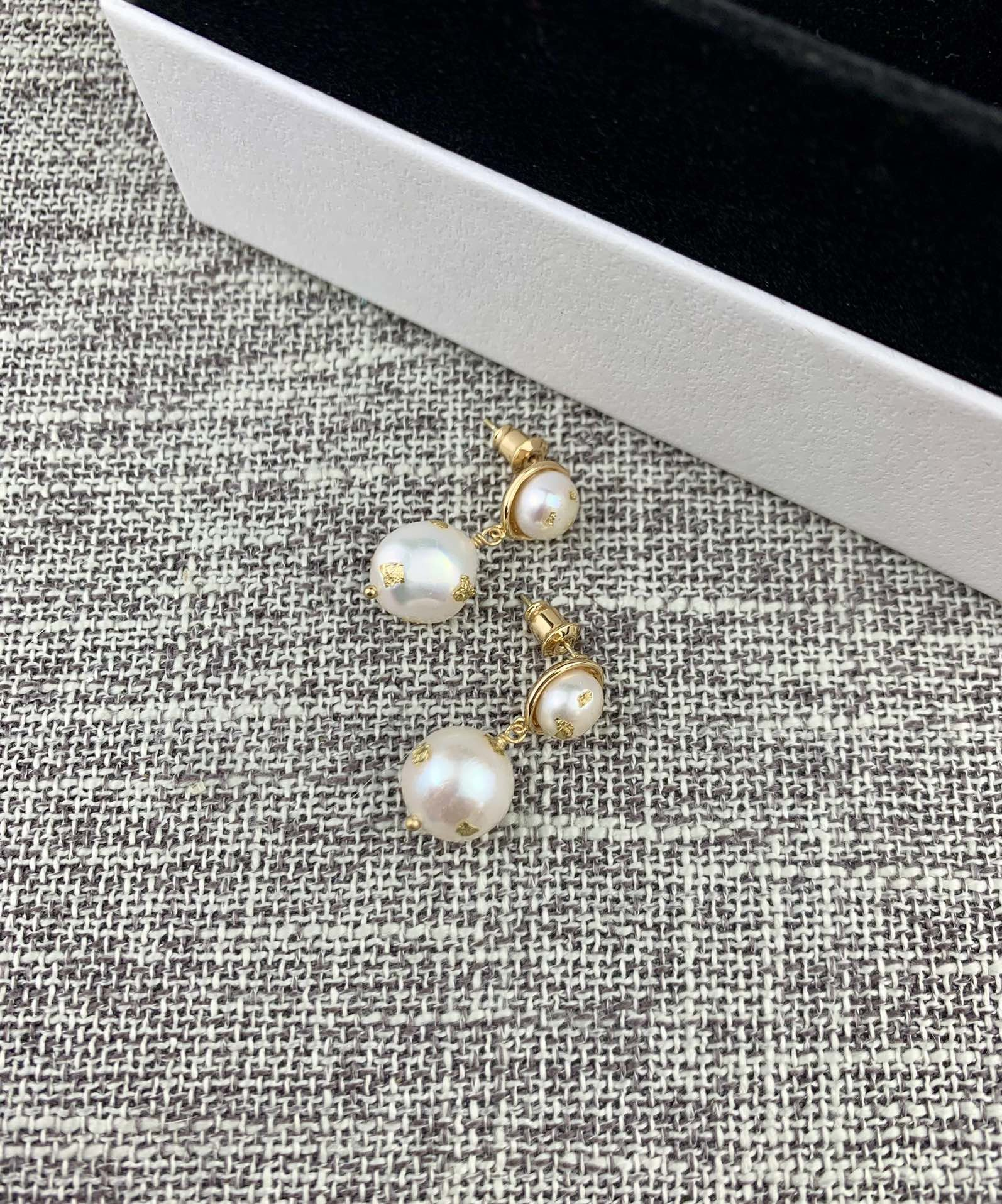 新品天然珍珠耳环网红冷淡风小众简约时