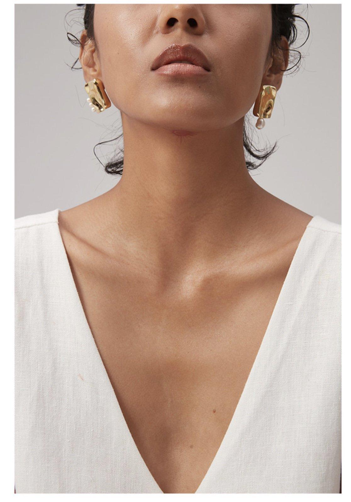 Wens方形肌理感不对称珍珠耳钉简单