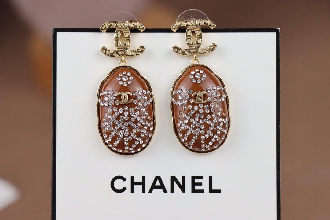 Chanel香奈儿树脂亚克力耳环原版