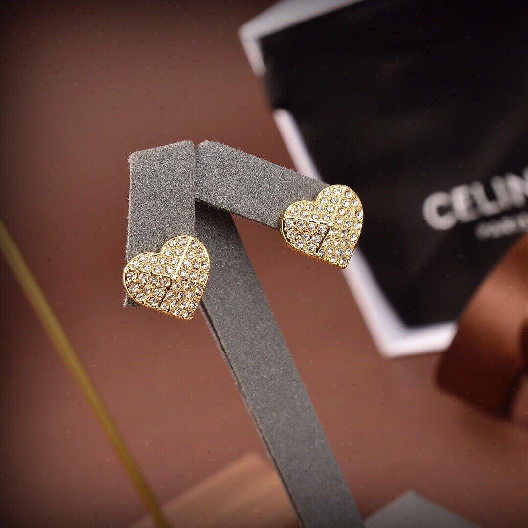 Celine新款金色满钻爱心耳钉与众