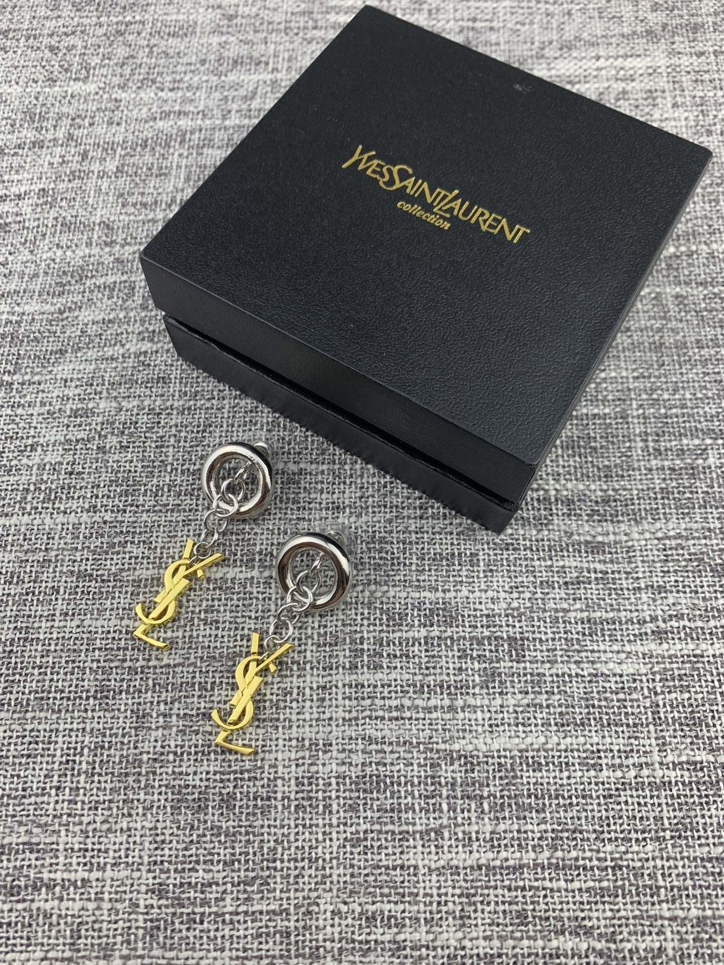 圣罗兰古铜金YSL耳环原装黄铜材质优