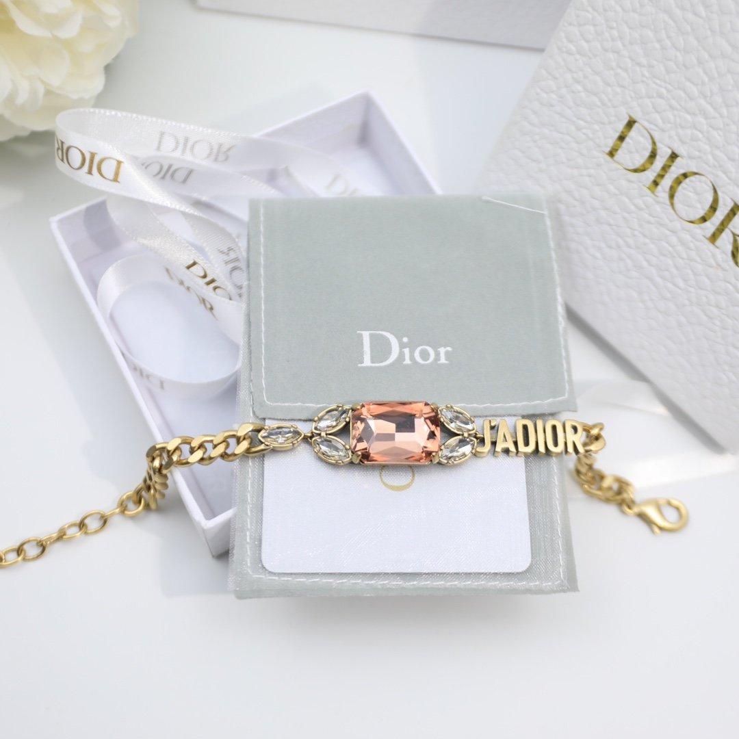 迪奥Dior香槟色方形水晶Dior迪
