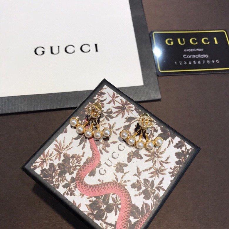 Gucci古驰水钻字母双G珍珠镶嵌耳