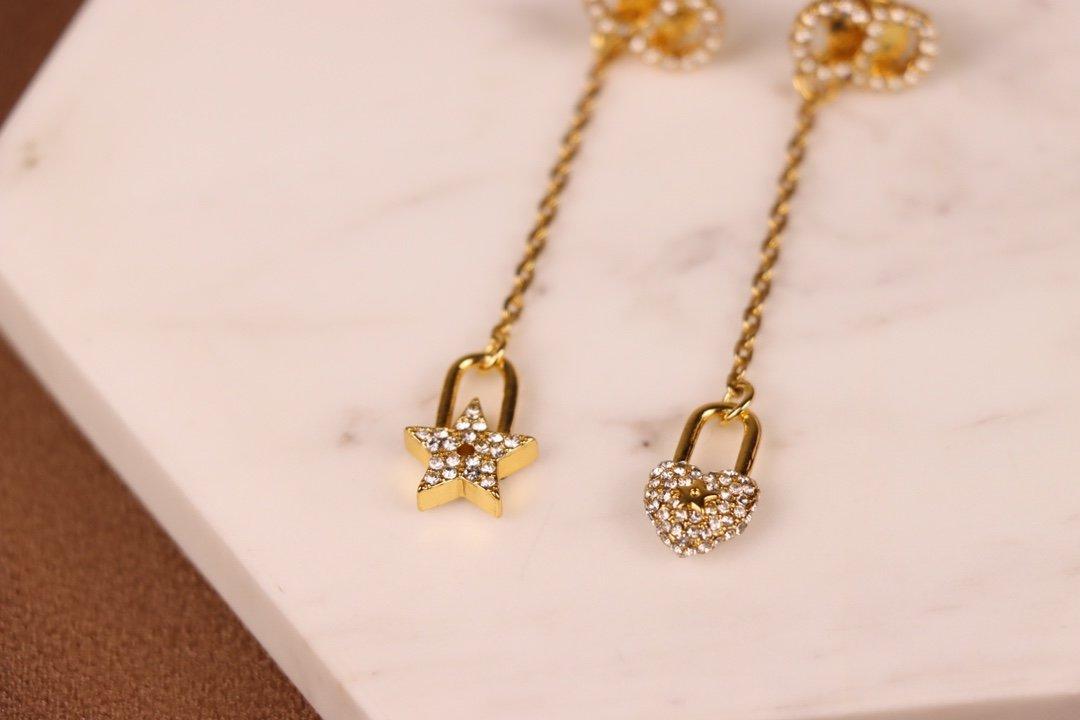 Dior迪奥双面不对称耳环黄铜镶嵌满