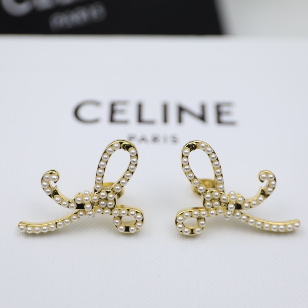 塞林CELINE欧美时尚款珍珠蝴蝶结