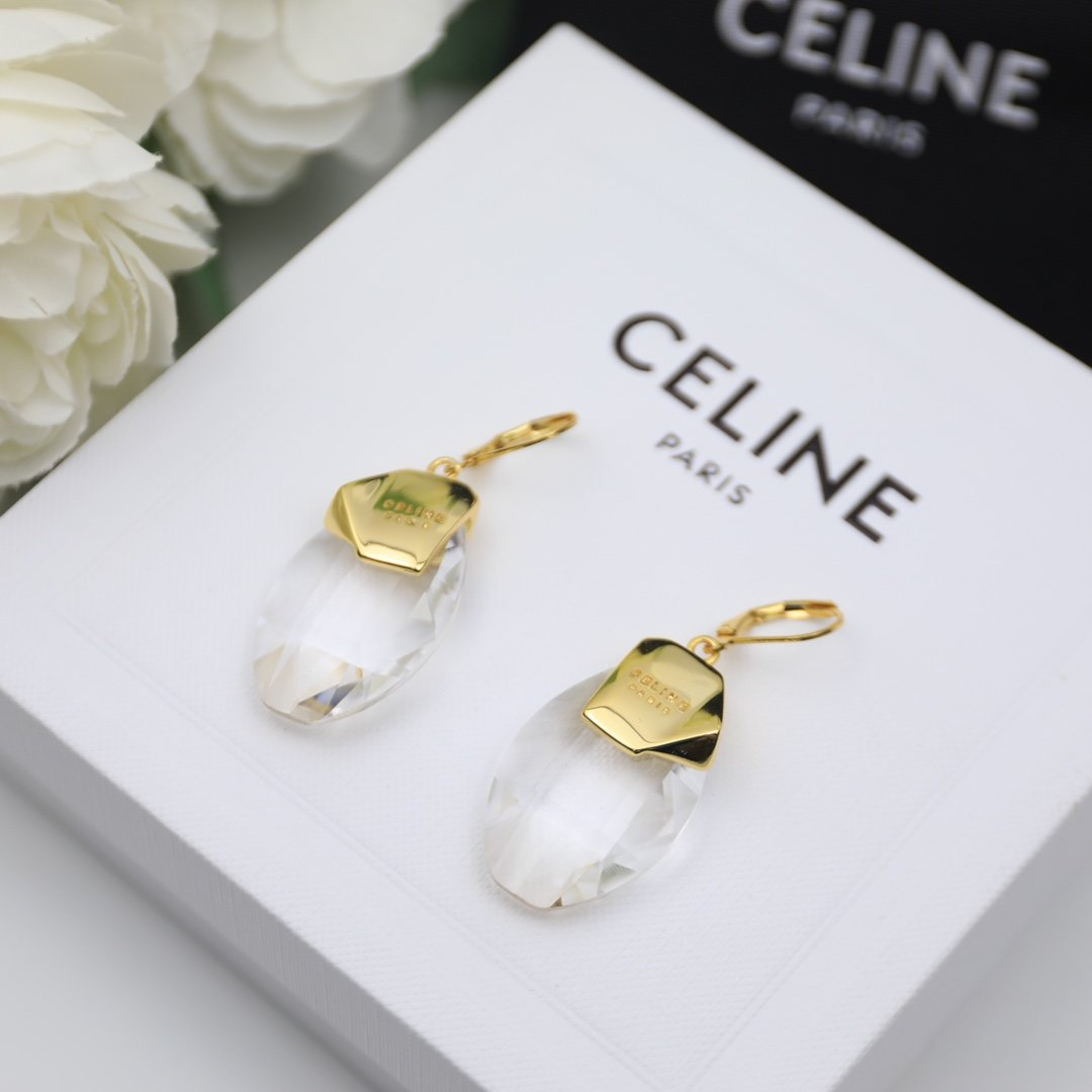 塞林CELINE欧美时尚款水晶耳钉带