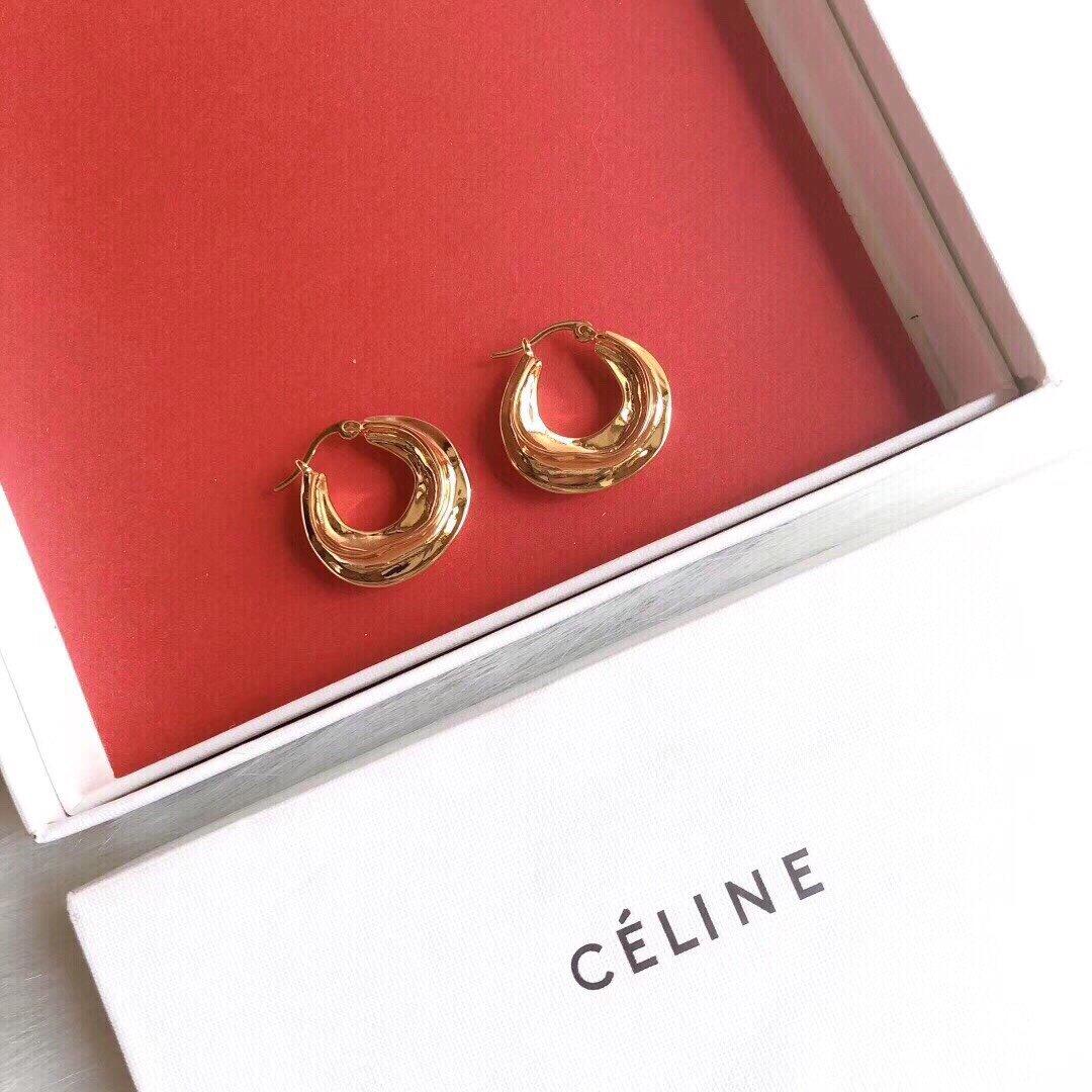 Celine赛琳圆圈波浪纹耳钉随性自