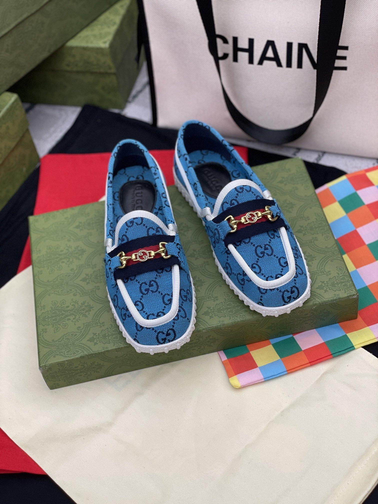 Gucc*2021古奇帆布乐福鞋