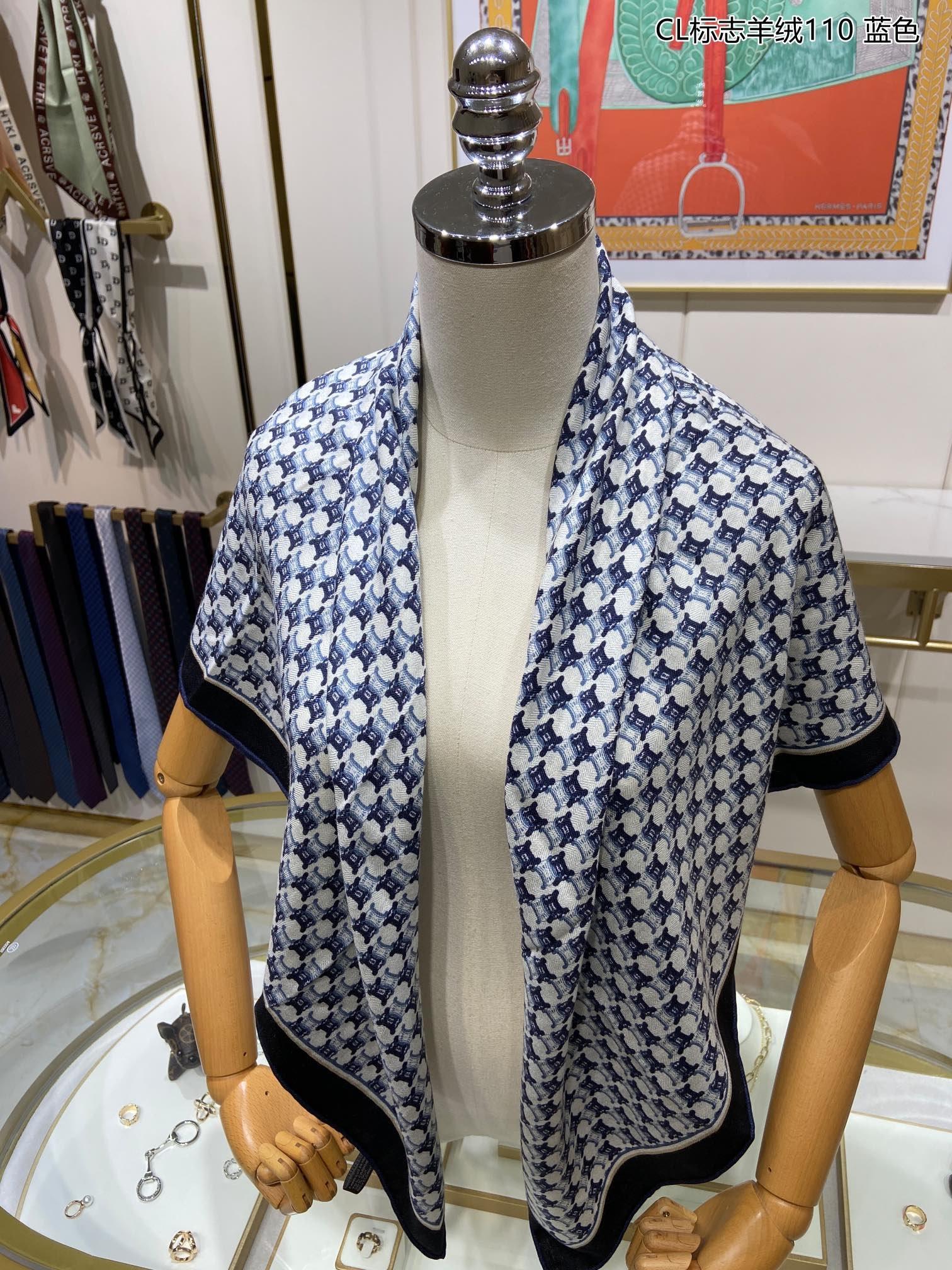 新款瑟琳CL标志羊绒110羊绒方巾抢