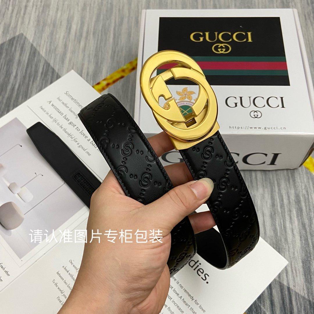 品牌GUCCI古奇原单皮带腰带单面使