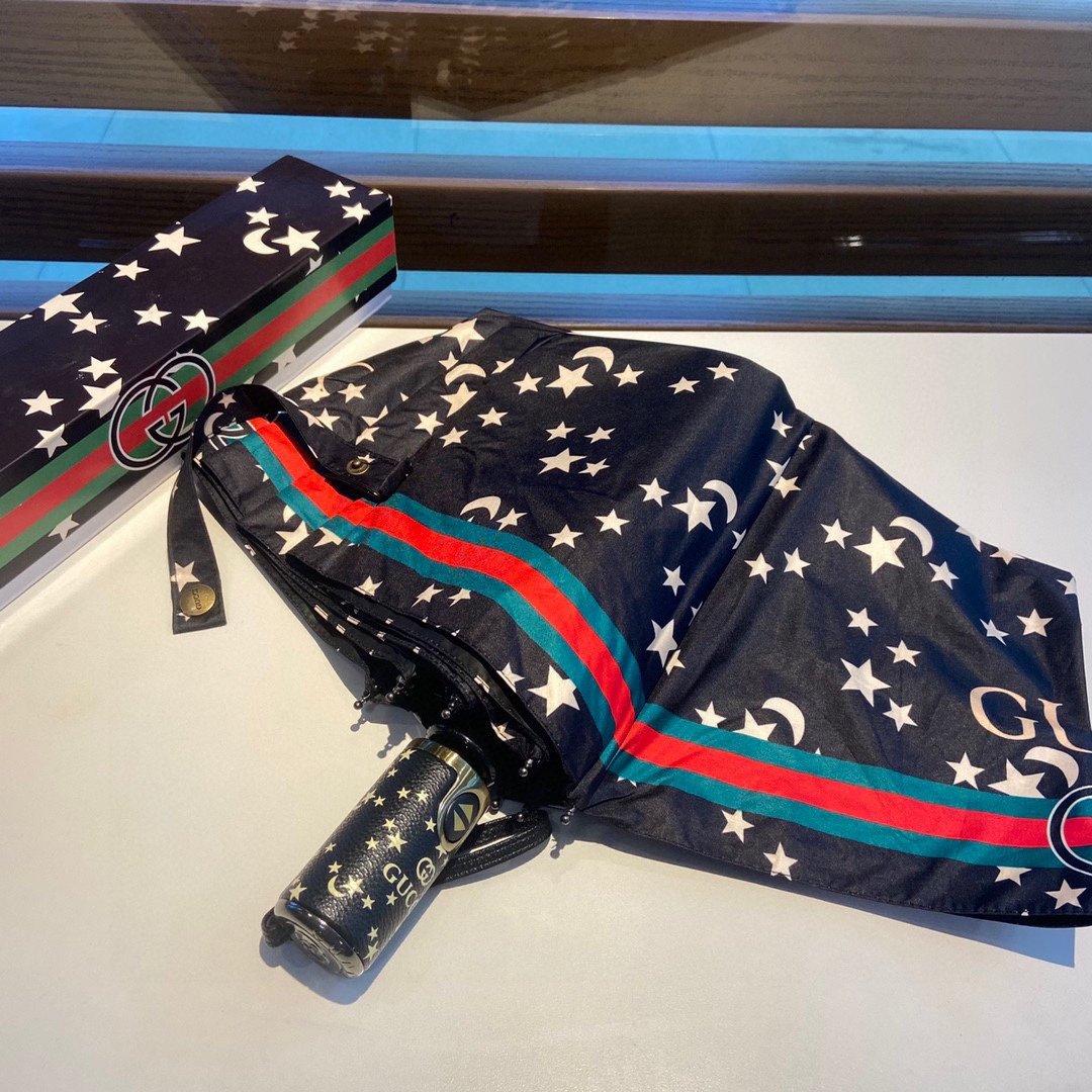 Gucci古奇星星图案三折自动折叠晴