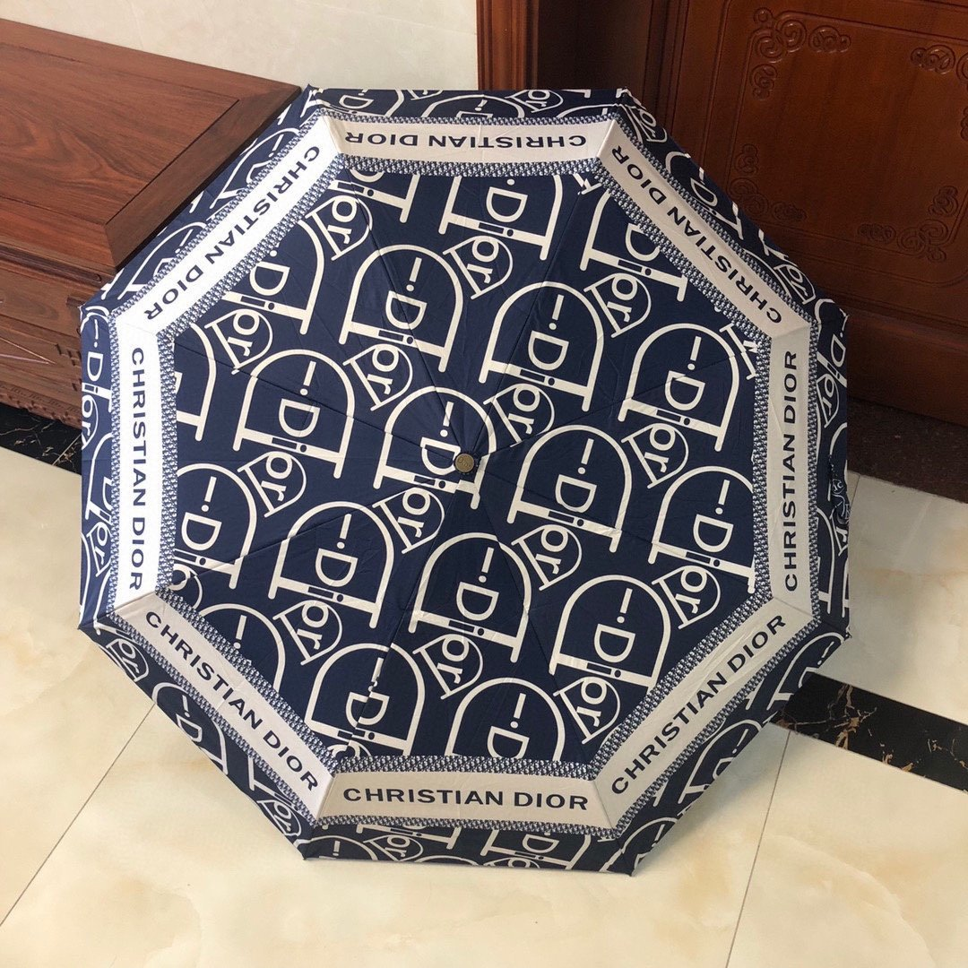 DIOR迪奥新款三折自动折叠晴雨伞时