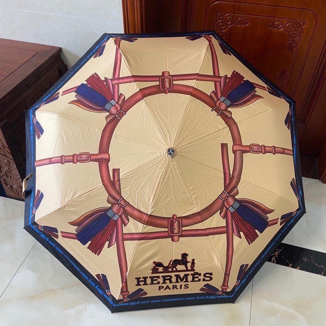 爱马仕Hermès三折自动折叠晴雨伞