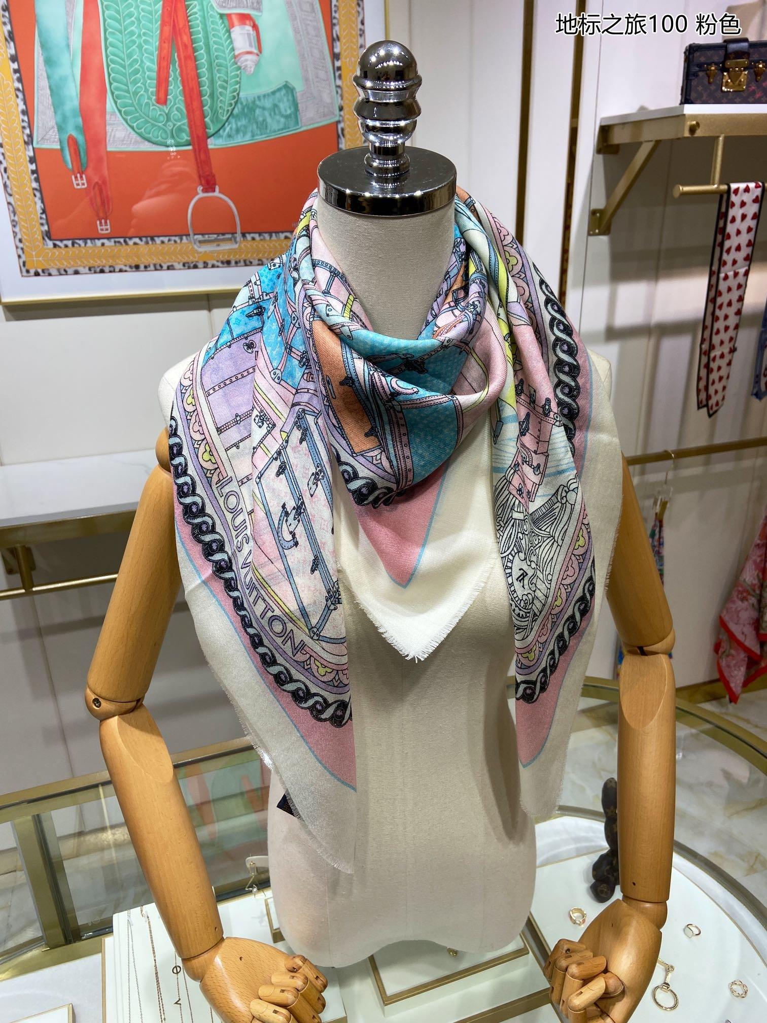 新美极了驴家地标之旅100羊绒小方巾