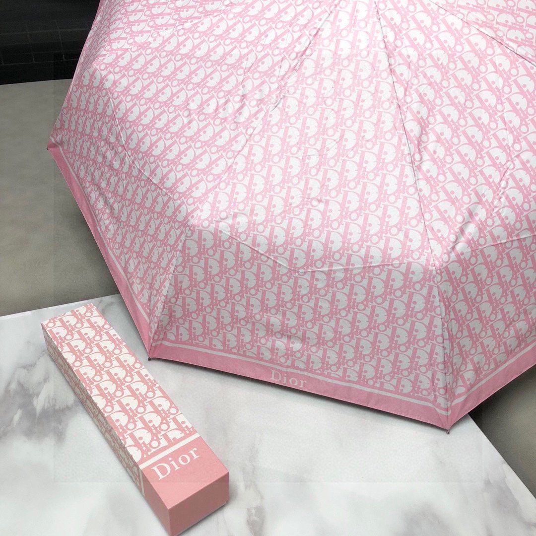 Dior迪奥经典老花三折自动晴雨伞简