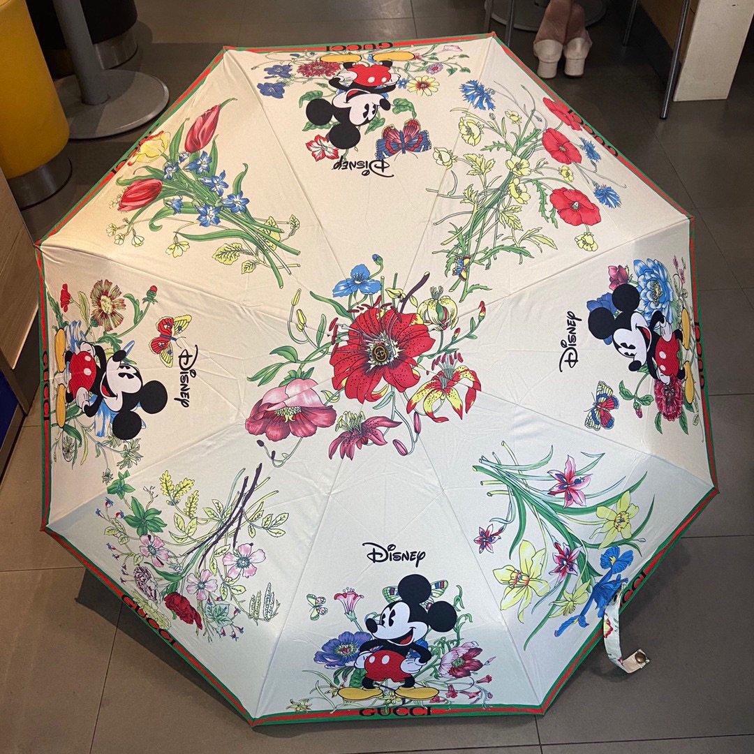 GUCCI古奇米奇三折自动折叠晴雨伞