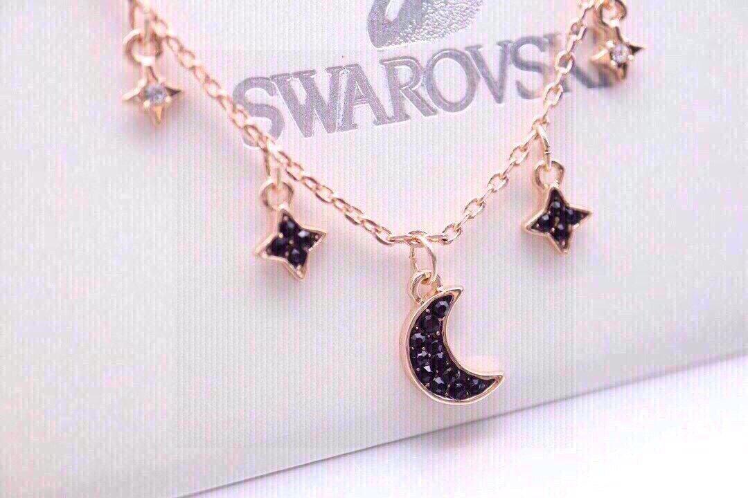 Swarovski玫瑰金单层星月锁骨