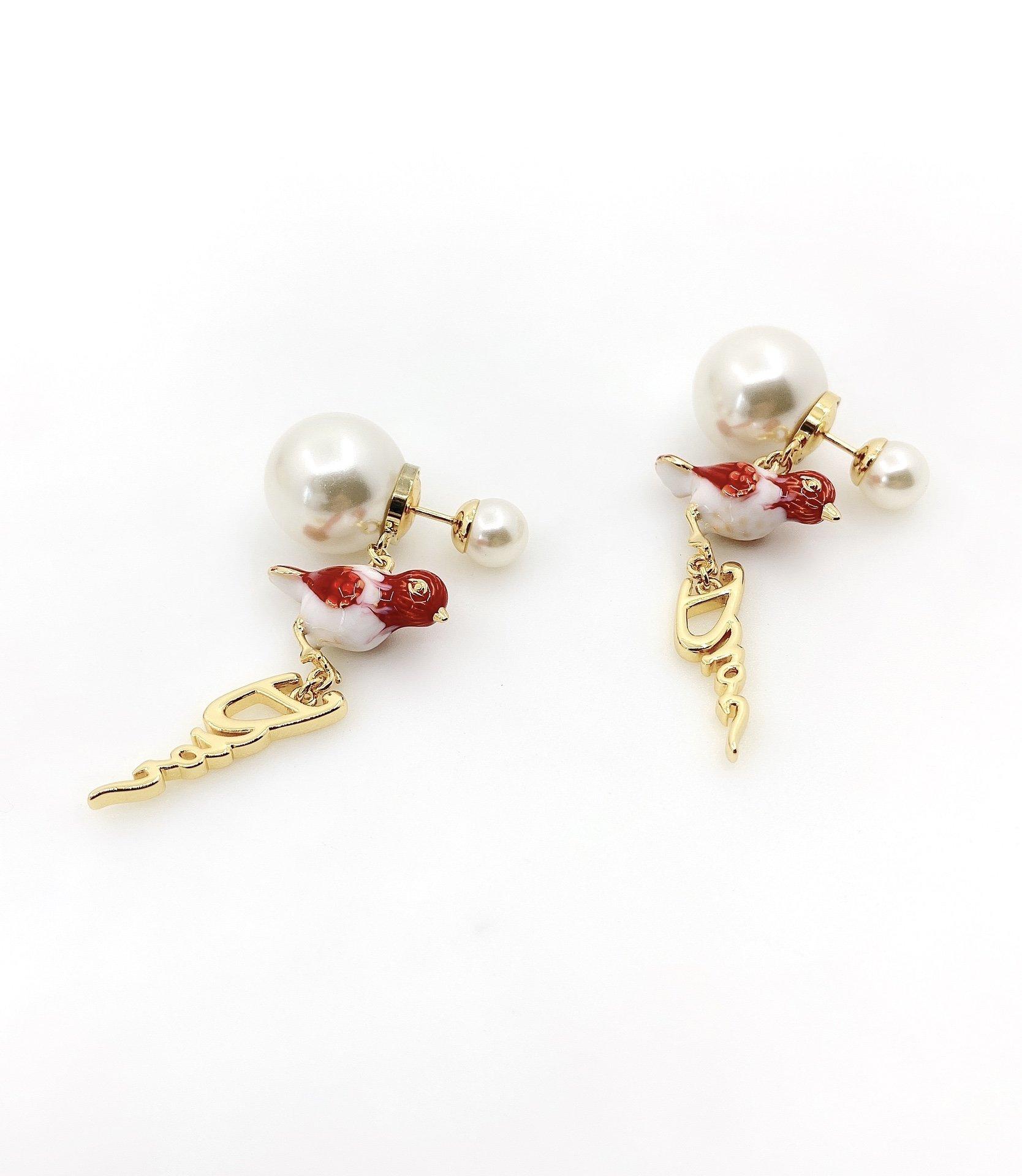 Dior最新款红色小鸟耳环一致zP黄