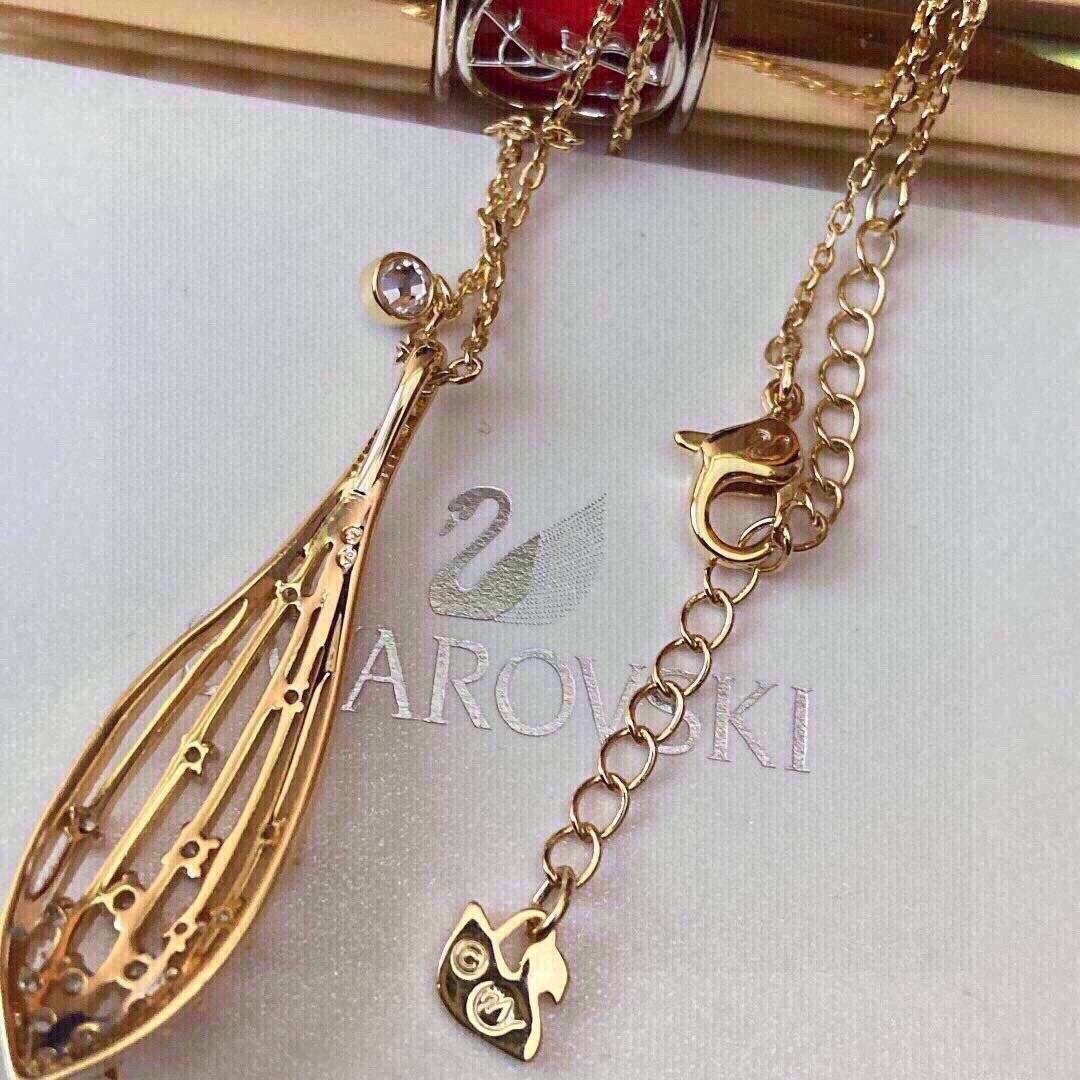 新品施华洛世奇新款金色橄榄造型女项链