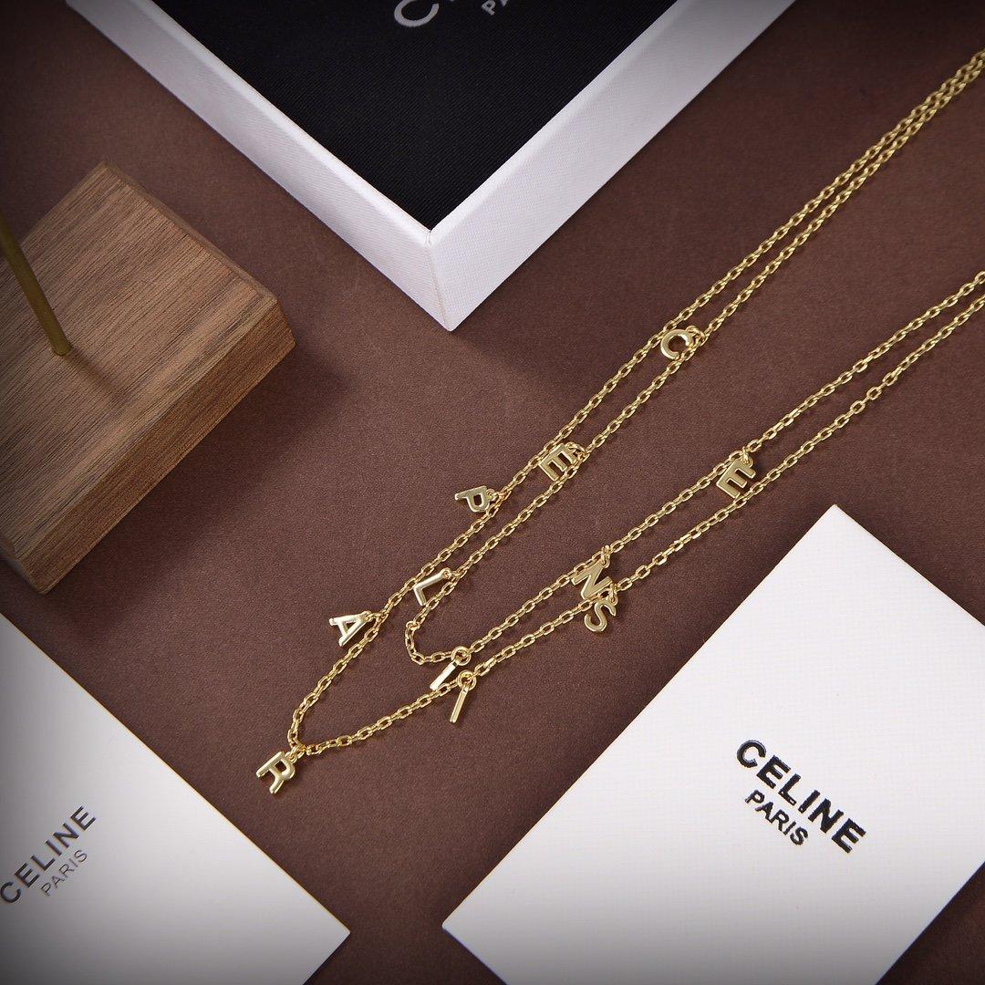 Celine新款金色字母双层项链与众