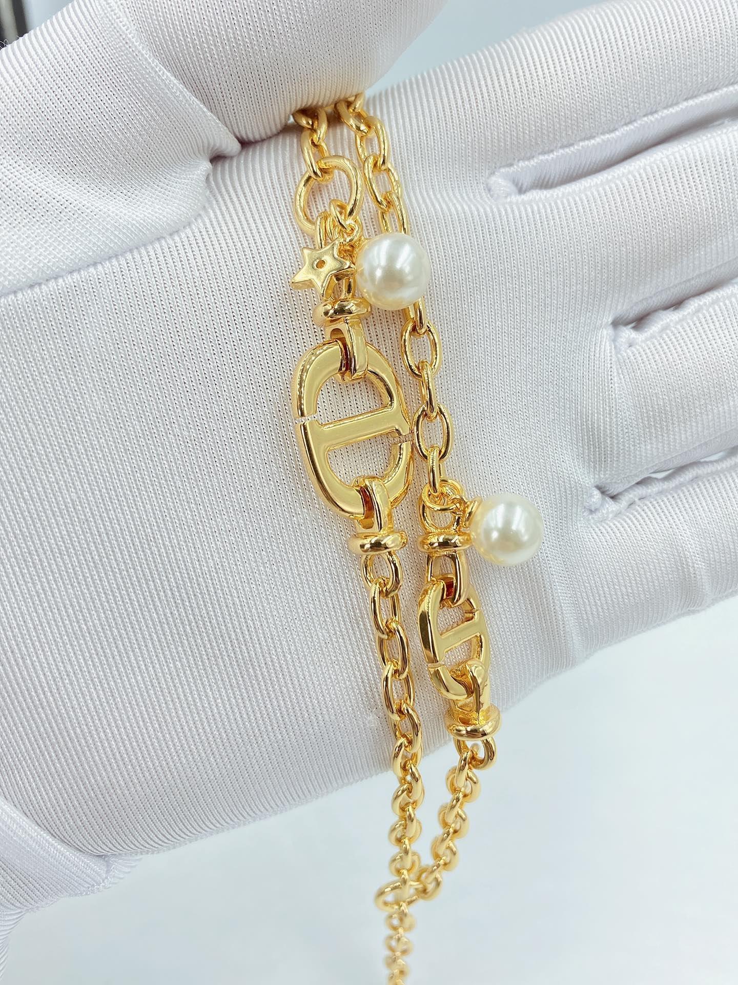 项手Di0r新款CD珍珠项链手链以醒