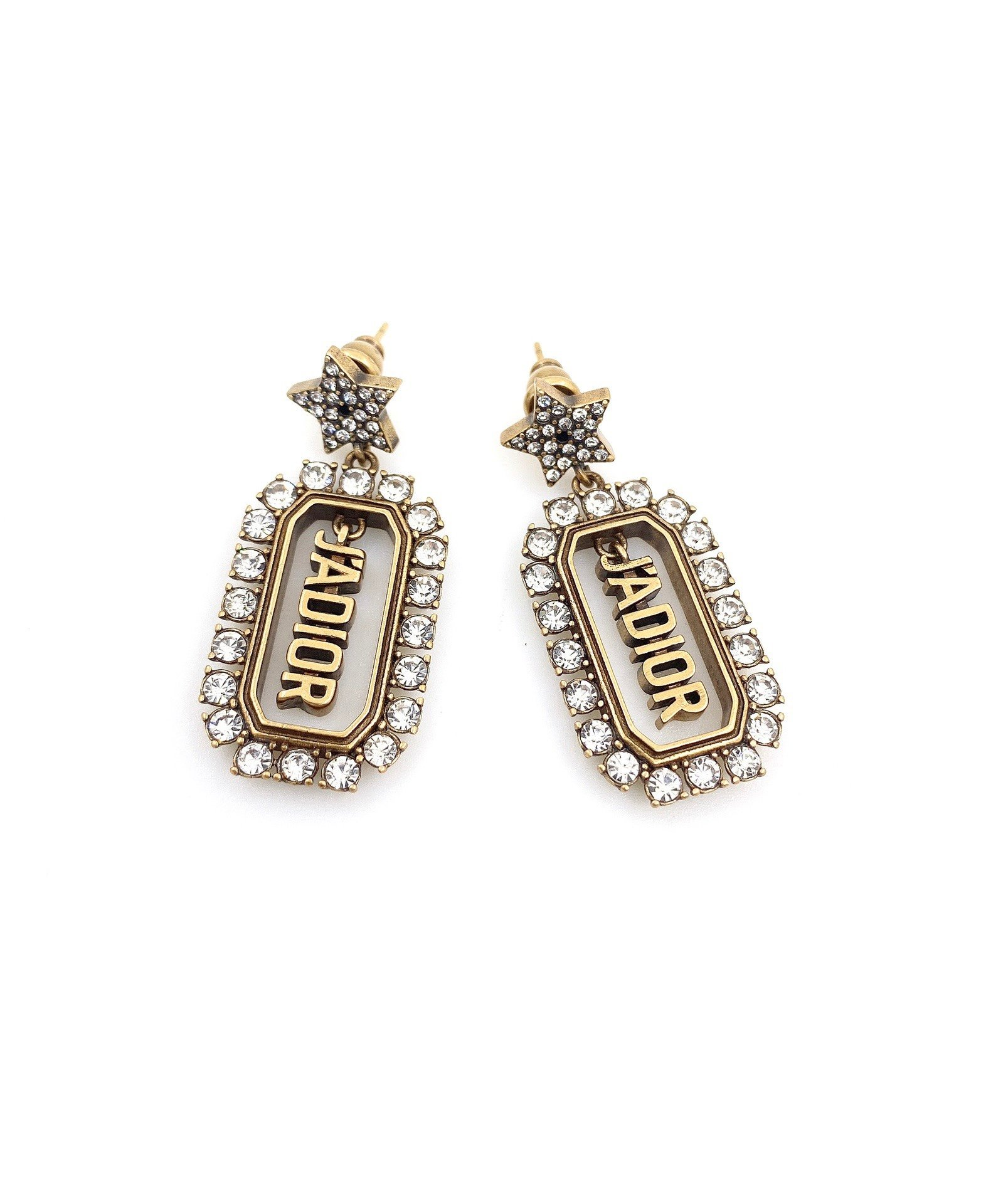 Dior新款星星字母耳环一致黄铜材质