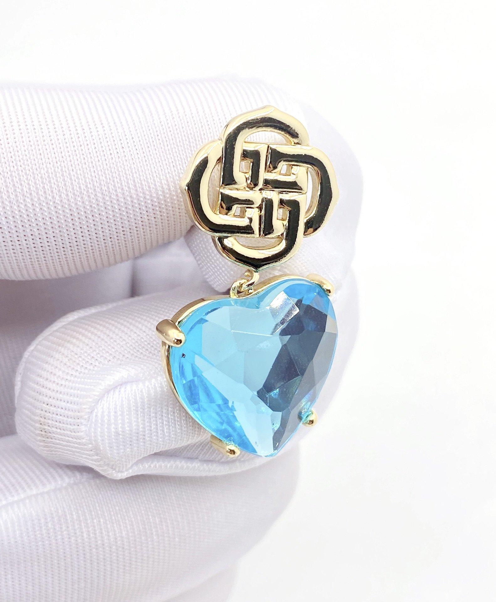 DIXI爱心蓝色水晶耳钉