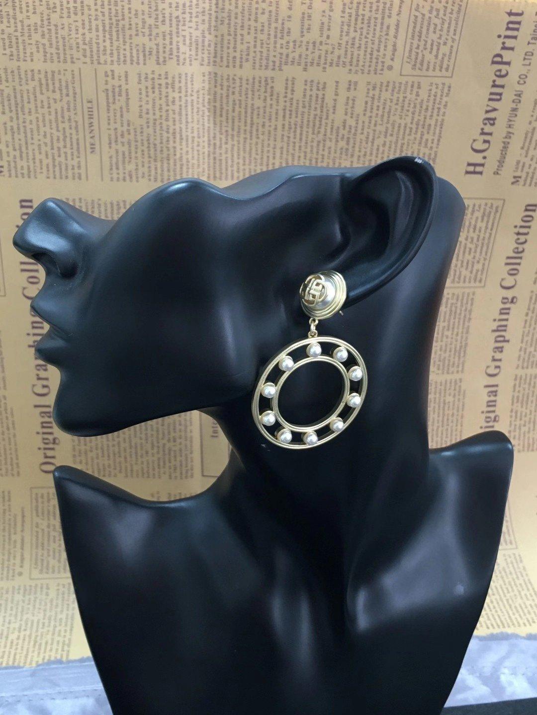DIXI新款大圈镶珍珠吊坠耳环