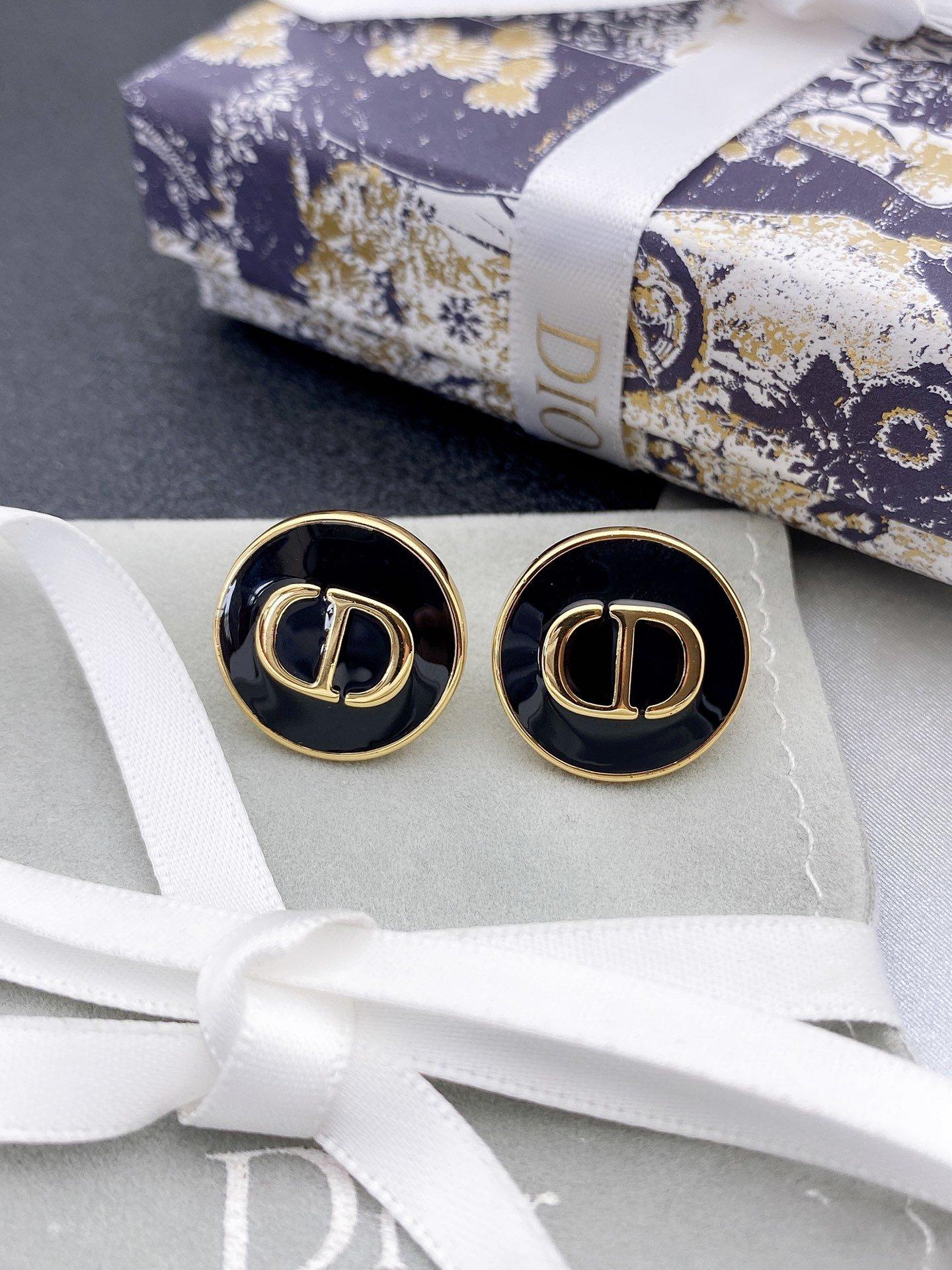 Dior最新款cd圆形耳钉一致zP黄
