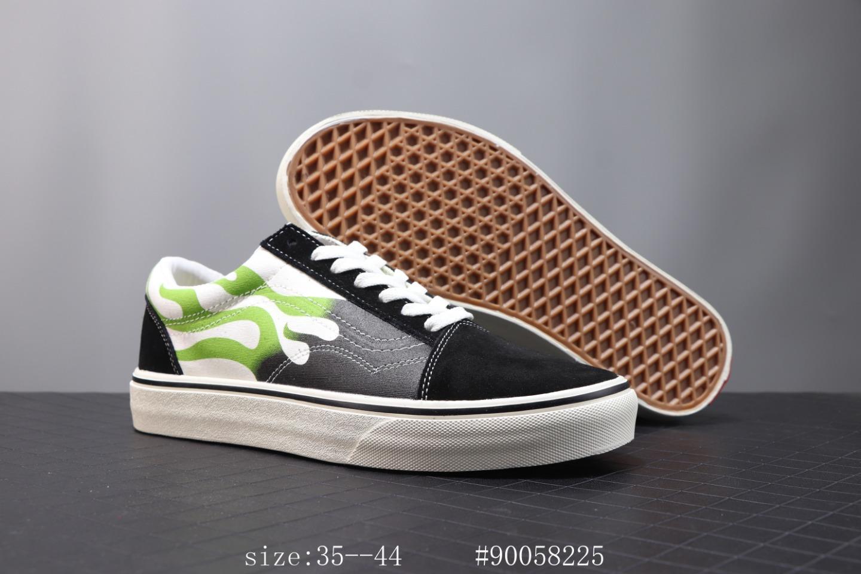 🌈210 万斯 Vans Old Skool 2020春季新款低帮男鞋 Faulkner黑绿火焰花纹休闲板鞋