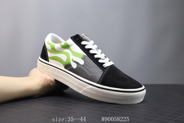 ?210 万斯 Vans Old Skool 2020春季新款低帮男鞋 Faulkner黑绿火焰花纹休闲板鞋