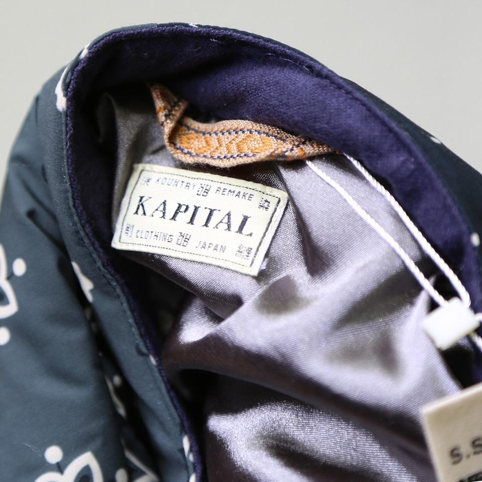 """發:590? KAPITAL 19AW BANDANA DOWN JKT 腰果花棉袄夹克外套KAPITAL作为非常注重工艺的品牌,用了很多""""奇特""""的设计,近两年Archive古着风格崛起,很多人开始着用kapital的设计。比如笑脸,腰果花,古布等kapital铁打的元素进行融合创作。Kapital也是近年足够火热的亚文化属性牌子,将拼接与洗水大玩特玩,得到Asap rocky等IG红人追捧。看惯了Sup不断炒冷饭的老年腰果花,那这件八花六色的拼接腰果花绝对抢眼!kapital今年的腰果花系列也是ins最红的款式没有之一!就连LV卤蛋大光头都有上身同款紫色。原版购入后拆解,花型颜色版型1:1完美还原,先裁片后拼接,面料使用特殊工艺制作,类似人字纹手工缝制效果!增加复古感!特殊自然氧化做旧辅料!这个款式是一个内搭外穿都可以穿着的款式,准确来说,更多的是一款内搭叠穿的款式!这样的衣服在搭配时候要考虑到叠穿时候与其他衣服的兼容性,袖子等数据不可能做的非常宽松,搭配帽衫外传,道袍冲锋衣内搭等!无论是效果还是保暖度都是相当的不错的!强力机洗所带来的离心力,很容易会破坏整体版型美观性。建议轻机洗,手洗更佳!花色颜色版型一一对应,先裁片后拼接S 肩宽50 胸围120 衣长73 袖长60M 肩宽52 胸围124 衣长75 袖长61L 肩宽54 胸围128 衣长78 袖长62"""