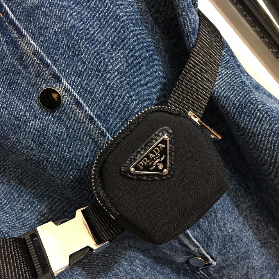 ️Prad*新款logo三角标拉链腰