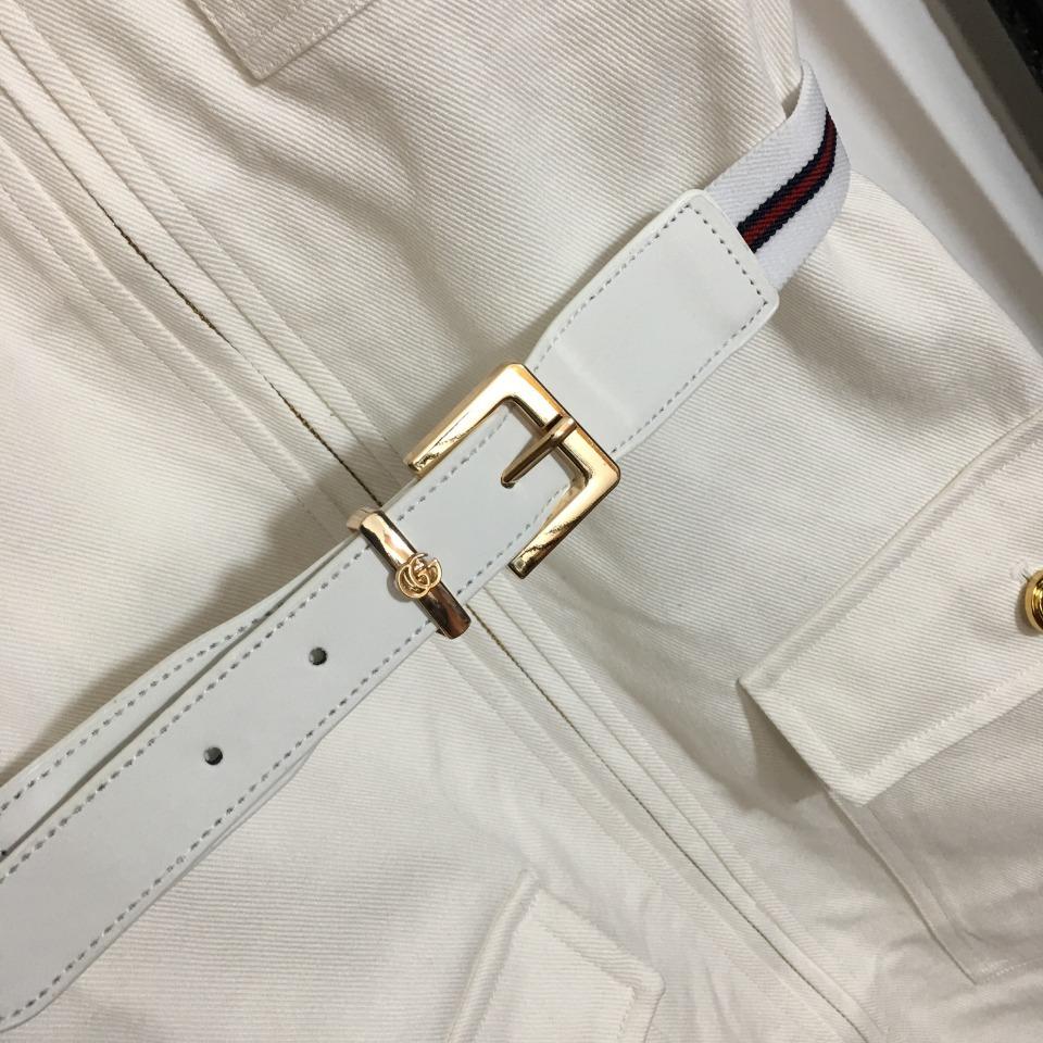 ️Gucci*新款四口袋皮带收腰翻领