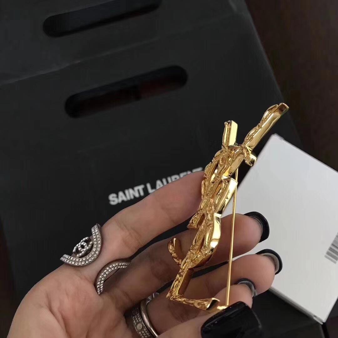 ysl竹节胸针经典新款亚金黄铜材质真