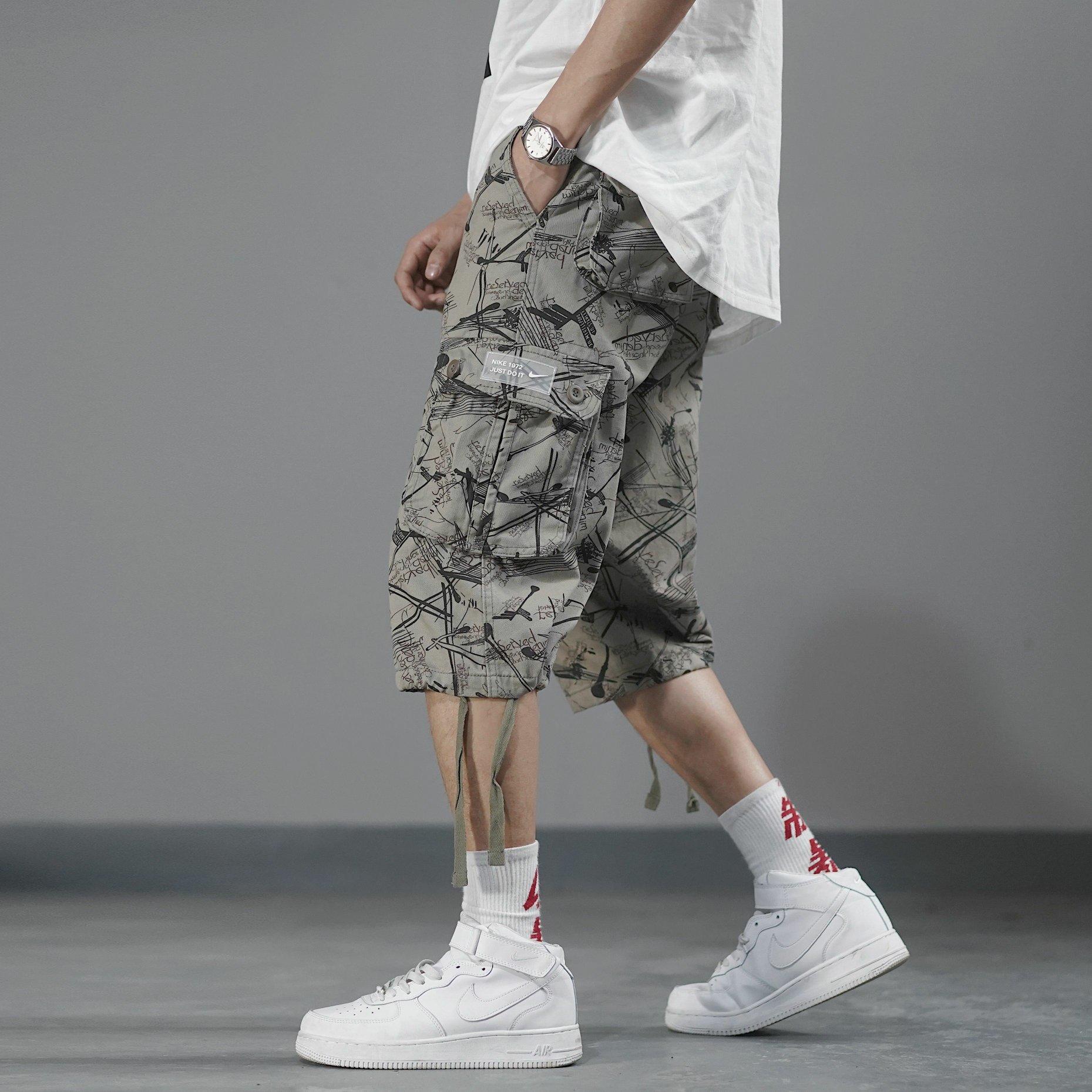 苏E💰60军绿色 高品质工装裤NIKE耐克工装裤满印短裤夏季运动休闲