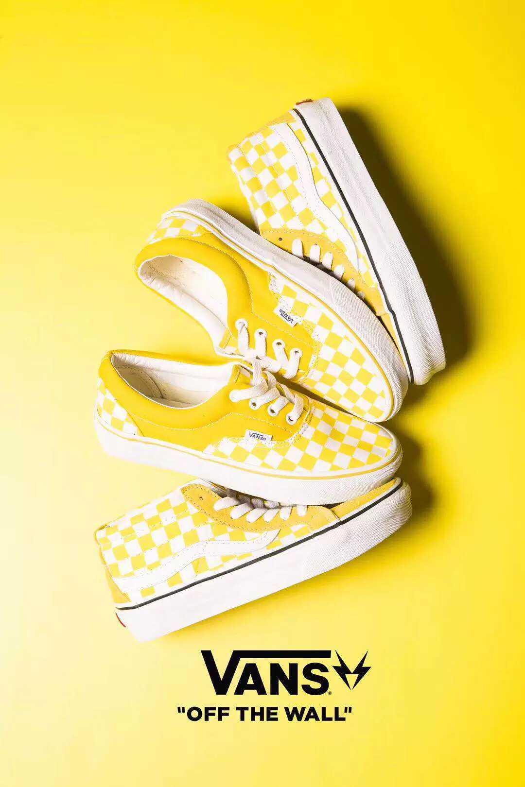 🌈220 Vans范斯SK8-Mid 柠檬黄棋盘格休闲滑板鞋 尺码35-44